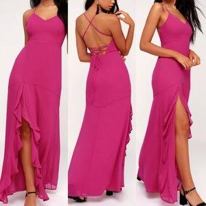 Lulus   LUXURIOUS LOVE MAGENTA LACE-UP MAXI DRESS